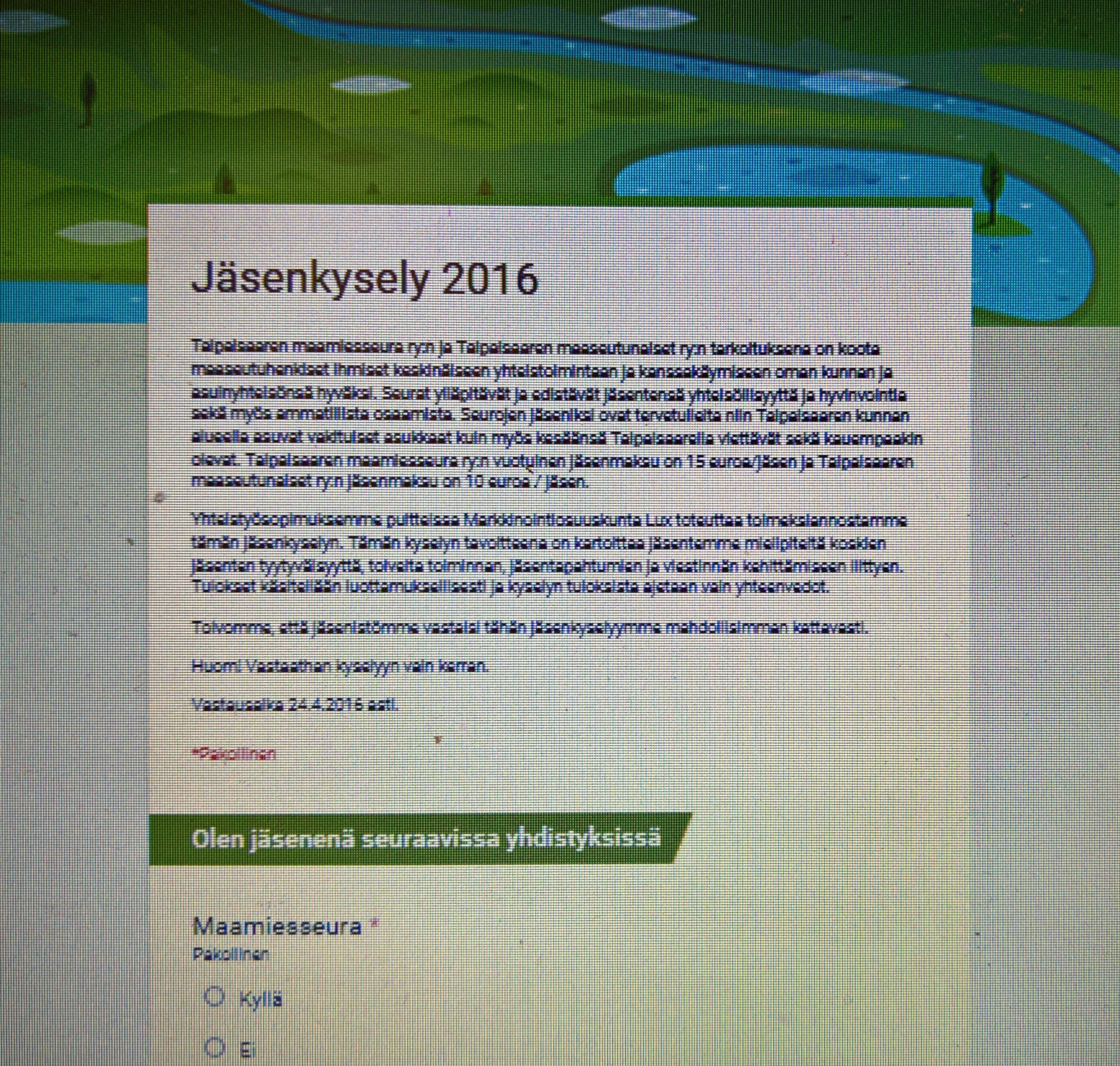 Jäsenkysely 2016
