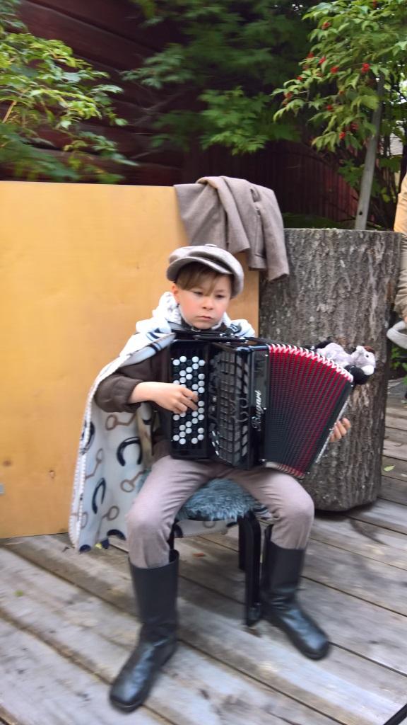 Nuori pelimanni Eelis Vuorela soittelil pihattopikinikissä