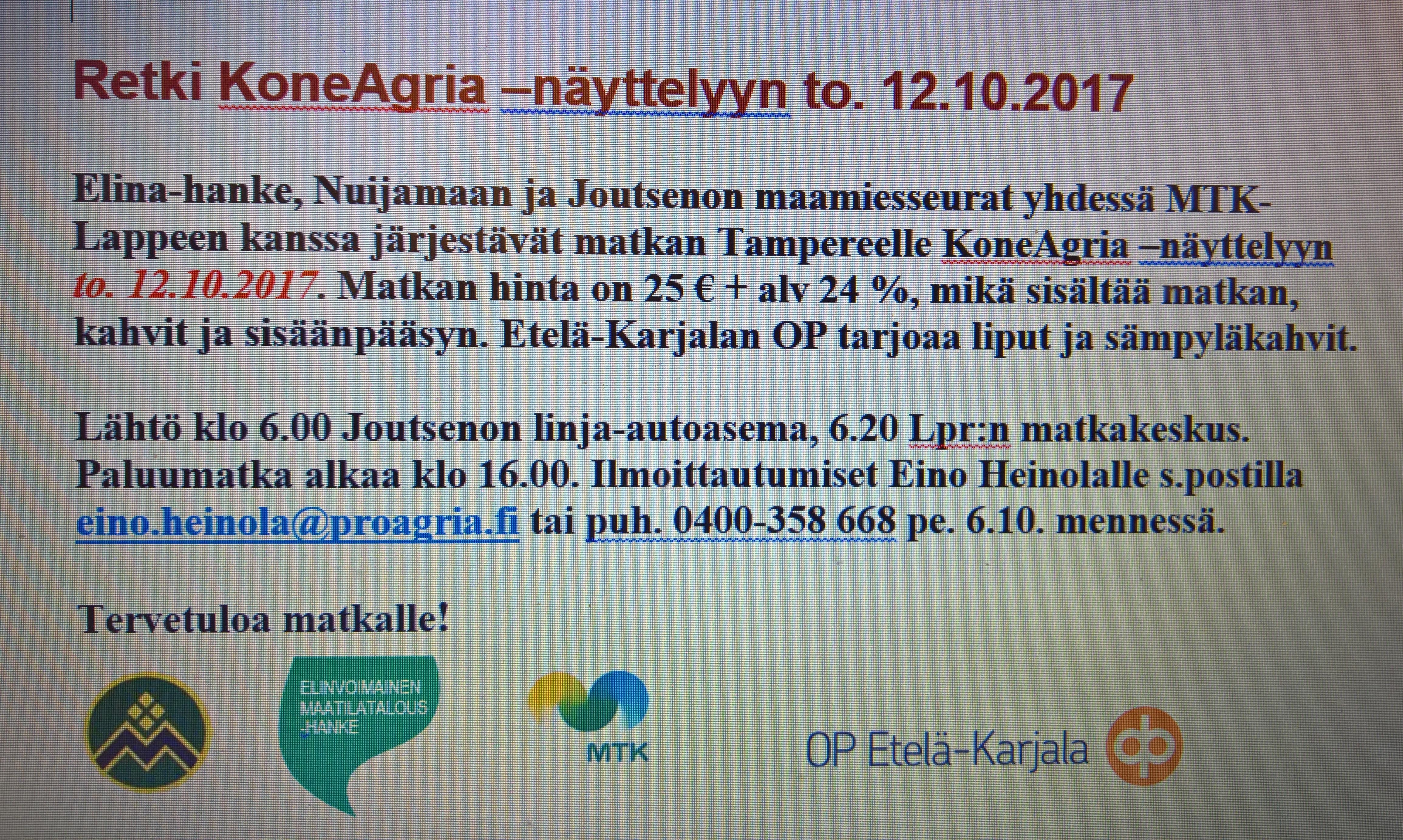 KoneAgria 12.10.2017 näyttelymatka
