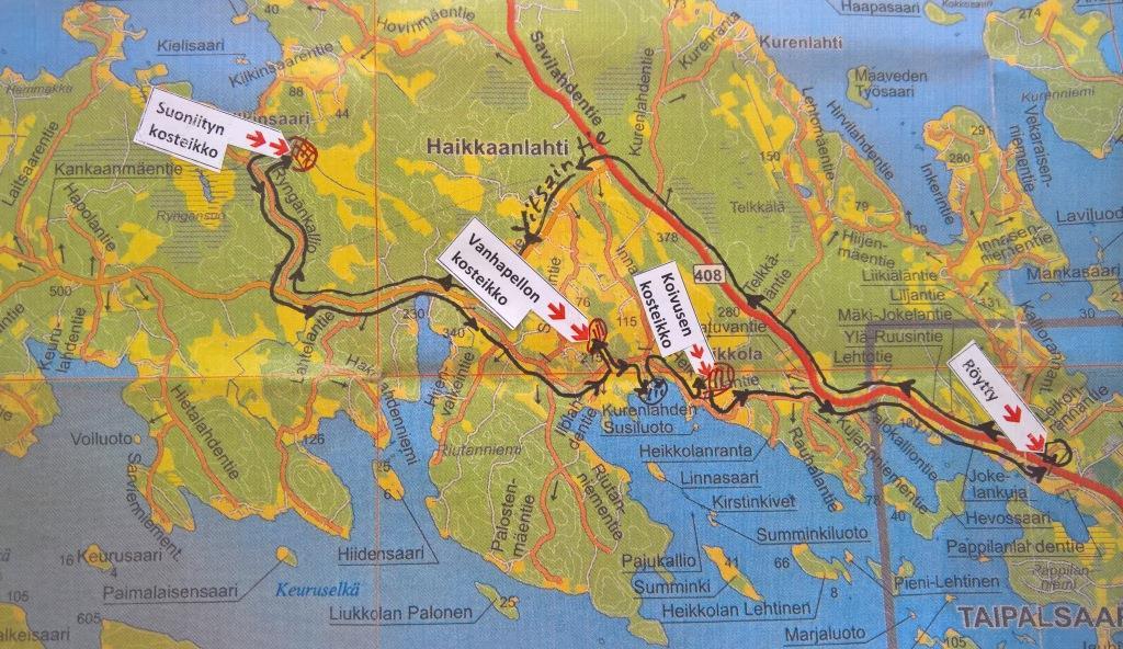 Reittikartta - Taipalsaaren kosteikkopyöräily 9.6.2018