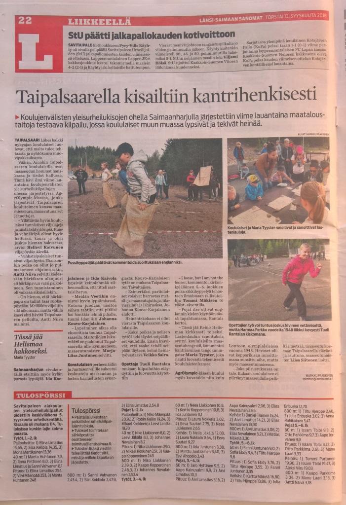 Juttu AgrOlympic-kisailusta LänsiSaimaa sanomat 12.9.2018