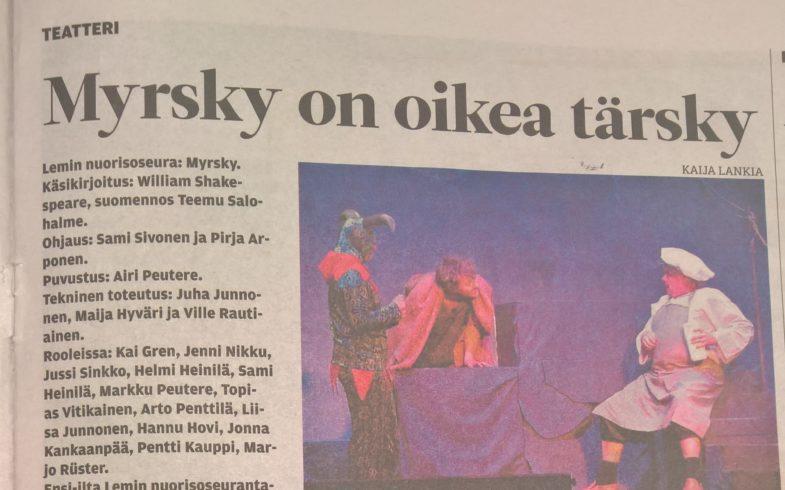 Teatterimatka Lemille lauantaina 2.2.2019 katsomaan MYRSKY- näytelmää tarjosi mukavan teatterielämyksen
